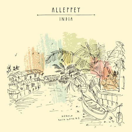 Alleppey Backwaters, Kerala, South India. Artistic travel sketch of boats on water and palm trees. Laid back atmosphere, back in time vintage hand drawn touristic postcard. Vector illustration Stock Illustratie