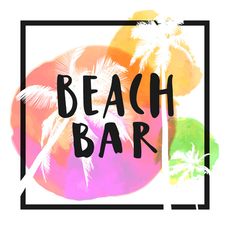 Beach Bar. Modern calligraphic T-shirt design with flat palm trees on bright colorful watercolor background. Vivid cheerful optimistic summer flyer, poster, fabric print design in vector  イラスト・ベクター素材