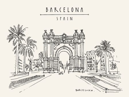 Barcelona hand drawn postcard. Vector illustration Illustration