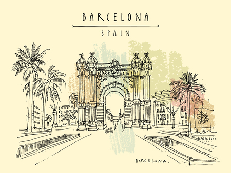 Barcelona hand drawn postcard. Vector illustration Çizim