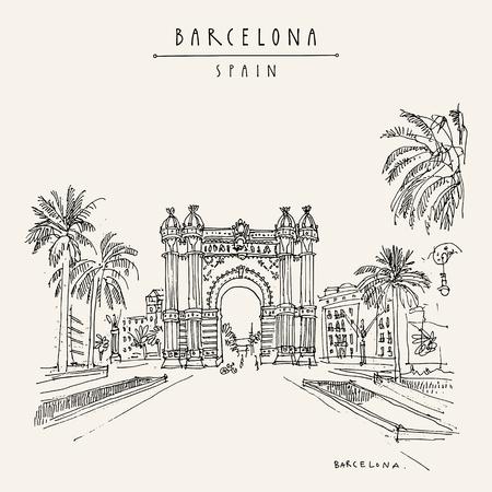 Barcellona, Catalogna, Spagna. Arc de Triomf (Arco di Trionfo) e palme. Schizzo di viaggio. Cartolina turistica vintage disegnata a mano, poster, illustrazione di libri. Grafica vettoriale