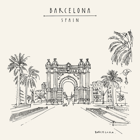 Barcelona, Catalonia, Spain. Arc de Triomf (Triumphal Arch) and palm trees. Travel sketch. Hand drawn vintage touristic postcard, poster, book illustration. Vector artwork Иллюстрация