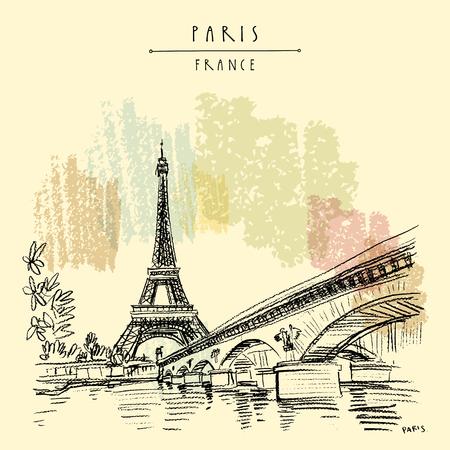 Torre Eiffel en París, Francia. Puente y agua. Dibujo a mano en estilo retro. Boceto de viaje. Ilustración de postal, cartel o libro turístico dibujado a mano vintage en vector