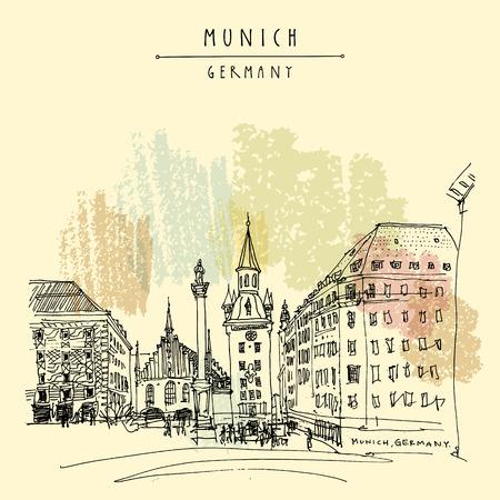 Munich, Bavaria, Germany, Europe. Old Town Hall and Marian column at Marienplatz Square. Travel sketch. Vintage hand drawn postcard, poster, book illustration. Vector artwork Vektoros illusztráció