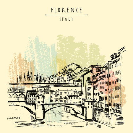 Ponte Vecchio à Florence, Italie, Europe. Croquis de voyage vintage. Carte postale touristique de style rétro, modèle d'affiche ou illustration de livre en vecteur