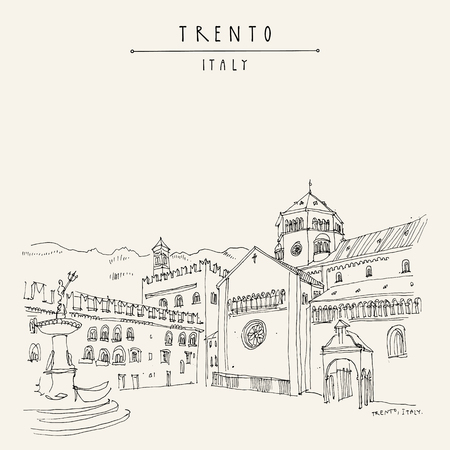 Trento, Northern Italy. Cathedral Square (Piazza Duomo) and the Late Baroque Fountain of Neptune. Artistic drawing. Travel sketch. Vintage touristic postcard, poster or book illustration in vector