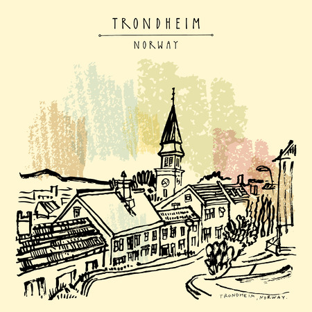 Trondheim, Norway, Europe. Wooden houses and church. Old town, wooden houses and a church. Ink brush hand drawing. Travel sketch. Vintage touristic postcard, poster or book illustration in vector