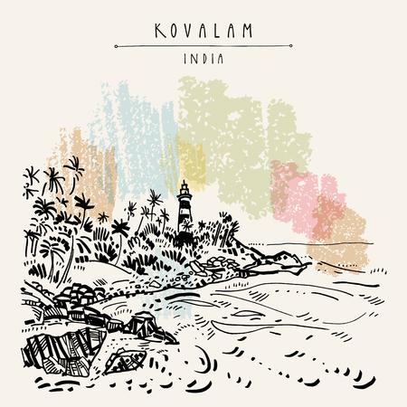 Plage de Kovalam et phare de Vizhinjam Kerala, Inde du Sud. Dessin de voyage rétro d'une plage immaculée, de palmiers et d'un phare. Croquis de paysage de paradis tropical. Illustration de carte postale vectorielle