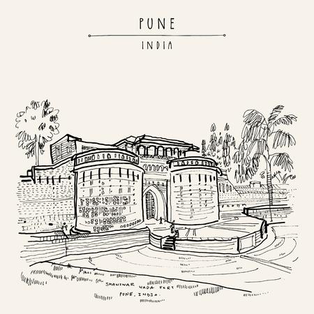 Pune (Puna, Poona), Maharashtra, India. Forte Shaniwar Wada, luogo storico, costruito nel 1732. Schizzo di viaggio art. Cartolina disegnata a mano d'epoca in vettoriale