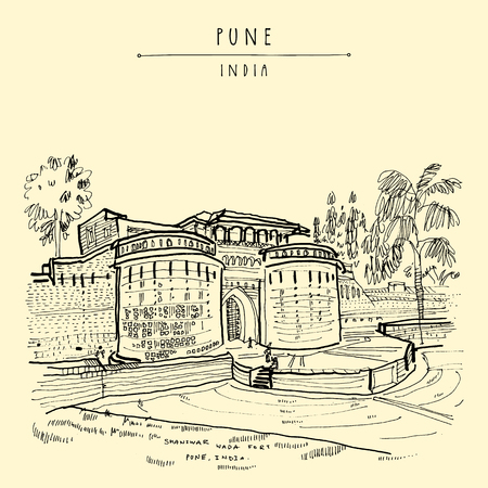 Pune (Puna, Poona), Maharashtra, India. Shaniwar Wada fort, historical place, built in 1732. Travel sketch art. Vintage hand drawn postcard in vector Ilustração