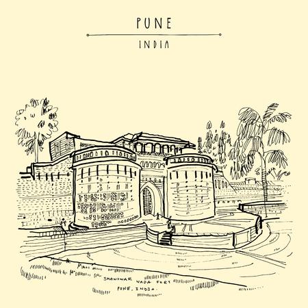 Pune (Puna, Poona), Maharashtra, India. Shaniwar Wada fort, historical place, built in 1732. Travel sketch art. Vintage hand drawn postcard in vector Illustration
