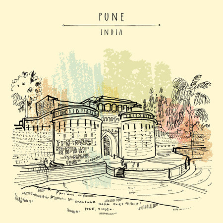 Pune (Puna, Poona), Maharashtra, India. Shaniwar Wada fort, historical place, built in 1732. Travel sketch art. Vintage hand drawn postcard in vector Stock fotó - 111830182