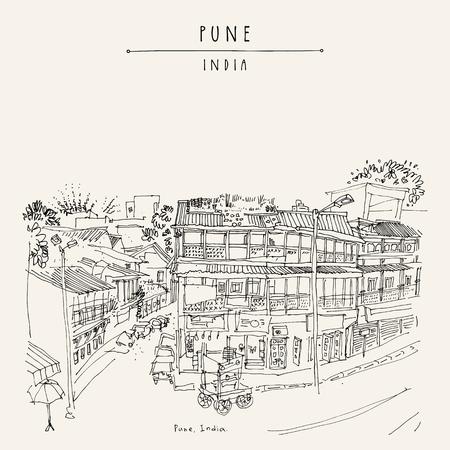 Alte Stadtstraße in Pune (Puna, Poona), Maharashtra, Indien. Reiseskizze Kunst. Gezeichnete Postkarte der Weinlese Hand im Vektor