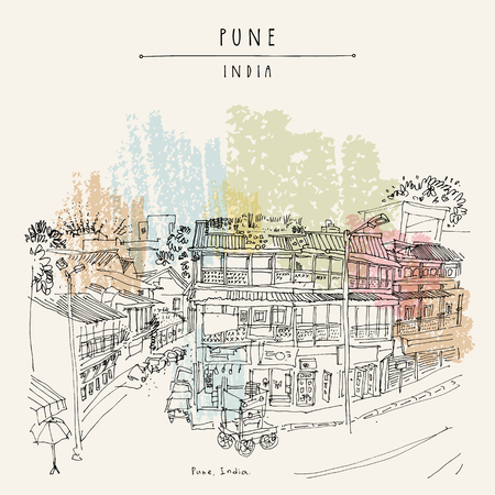 Old town street in Pune (Puna, Poona), Maharashtra, India. Travel sketch art. Vintage hand drawn postcard in vector