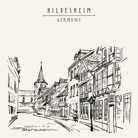 Hildesheim, Germany, Europe. Street in old town. Travel sketch of fachwerk (timbered) houses and church. Vintage hand drawn postcard. Vector illustration