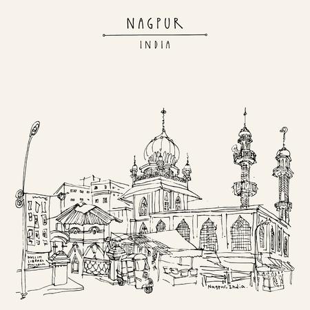 Nagpur, Maharashtra, Indien. Moschee, Markt und muslimische Bibliothek. Reiseskizze. Vintage handgezeichnete Postkarte oder Poster. Vektor-Illustration