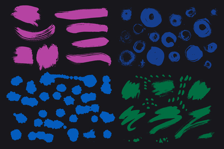 Bright colorful vivid, cheerful, optimistic ink brush strokes, blots, sprinkles, dabs and daubs. Set of grungy Oriental design elements for your design. Creative handmade collection in vector