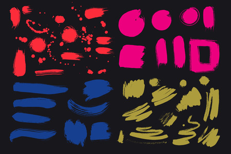 Bright colorful vivid, cheerful, optimistic ink brush strokes, blots, sprinkles, dabs. Set of red, hot pink, blue, olive colored design elements for your design. Vector creative handmade collection