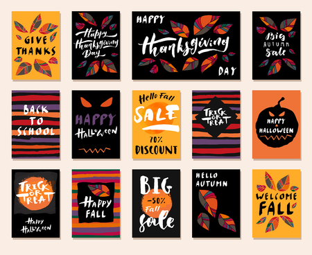 Big Autumn Sale. Happy Fall Y'all. Hello Autumn. Back To School. Happy Halloween.  Trick or Treat. Happy Thanksgiving Day. Set of modern calligraphic posters. Hand lettered greeting cards. Vector illustration 矢量图像