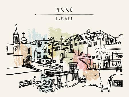 Akko, Israel. Vintage artistic hand hand drawn postcard template
