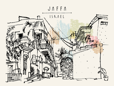 A house in Jaffa (Yafo), Tel Aviv, Israel. Grungy black ink brush outline drawing with lighthouse, houses and trees. Travel sketch. Touristic poster, postcard template or book illustration in vector