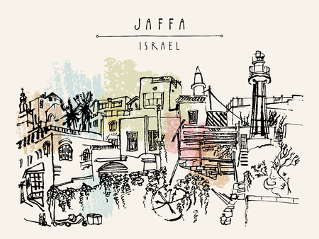 Artistic illustration of Jaffa (Yafo), Tel Aviv, Israel. Lighthouse, houses and trees. Grungy black ink brush drawing. Postcard or poster template in vector