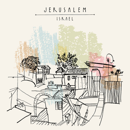 Roofs in Jerusalem, Israel. Travel sketch. Hand drawn touristic postcard, poster, calendar or book illustration. Jerusalem city view postcard with hand lettering in vector Vettoriali
