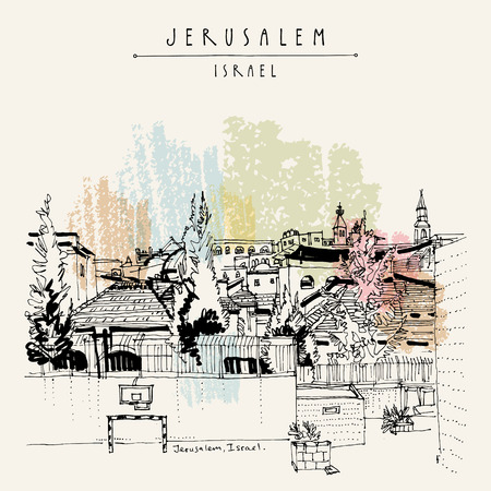Jeruzalem daken en kerken. Uitzicht op joodse, islamitische en christelijke wijken in Jeruzalem, Israël. Skyline. Basketbal, voetbalnetten op een sportveld. Reizen vintage hand getekende briefkaart in vector