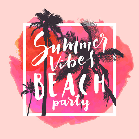 Summer Vibes Beach Party. Calligraphic watercolor poster or flyer on red tropical summer beach background. Mighty coconut trees and romantic sunset sky. Bold trendy modern hand lettering in vector Ilustrace