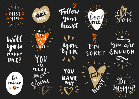 Set of Love vintage hand drawn quotes. For postcards, photo overlays, greeting cards, T-shirts, bags in retro style. Calligraphic artwork in vector