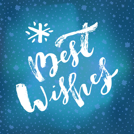 Best Wishes hand lettering. Merry Christmas and Happy New Year calligraphic phrase. Hand lettered Christmas  greeting card. Ink brush modern calligraphy. Bright blue holiday vector illustration
