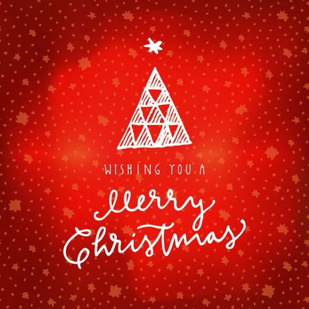 Wishing You A Merry Christmas calligraphic greeting card on red winter sky northern lights background with stars. Hand lettering, modern calligraphy. Merry Christmas design. Vector illustration