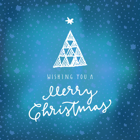 Wishing You A Merry Christmas calligraphic greeting card on blue winter sky northern lights background with stars. Hand lettering, modern calligraphy. Merry Christmas design. Vector illustration