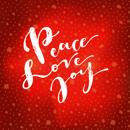 Peace Love Joy. Vintage hipster hand drawn greeting card on winter sky northern lights background with stars. Hand lettering, modern calligraphy. Vintage Merry Christmas design. Vector illustration