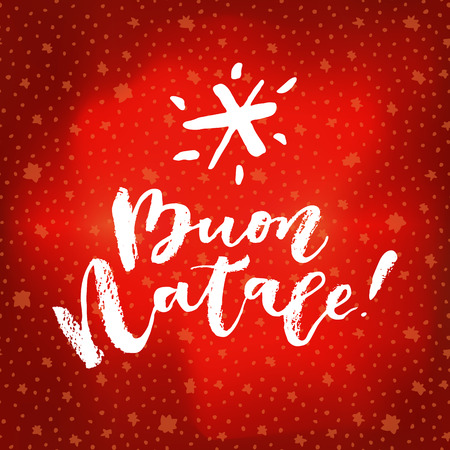 Buon Natale! Merry Christmas calligraphy. Vivid cheerful optimistic hand drawn greeting card on bright red winter sky background with stars. Buon Natale is Italian for Merry Christmas. Vector