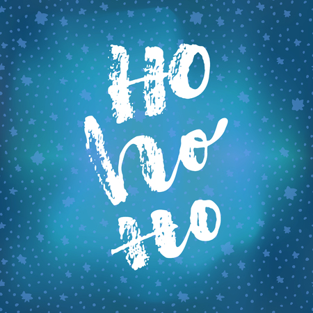 Ho Ho Ho. Christmas quote calligraphic greeting card on bright glowing blue winter sky background with stars. Hand lettering, modern calligraphy. Merry Christmas ironic poster design. Vector