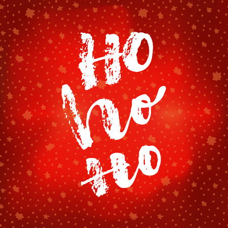 Ho Ho Ho. Christmas quote calligraphic greeting card on bright glowing red winter sky background with stars. Hand lettering, modern calligraphy. Merry Christmas ironic poster design. Vector