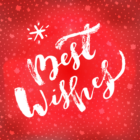 Best Wishes hand lettering. Merry Christmas and Happy New Year calligraphic phrase. Hand lettered Christmas  greeting card. Ink brush modern calligraphy. Bright red holiday vector illustration
