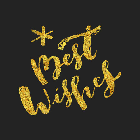 Best Wishes hand lettering. Merry Christmas and Happy New Year calligraphic phrase. Hand lettered Christmas  greeting card with gold glitter texture. Ink brush modern calligraphy. Vector
