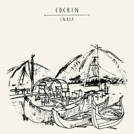 Cochin (Kochi), Kerala, South India. Chinese fishing nets and wooden boats. Historical landmark in summer. Vector hand drawn travel postcard