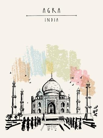 Taj Mahal in Agra, Indien. Alte historische Architektur. Taj Mahal Mausoleum. Berühmtes historisches Wahrzeichen. Vektor handgezeichnete Reisepostkarte