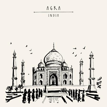 Taj Mahal in Agra, India. Old historical architecture. Taj Mahal Mausoleum. Famous historical landmark. Vector hand drawn travel postcard