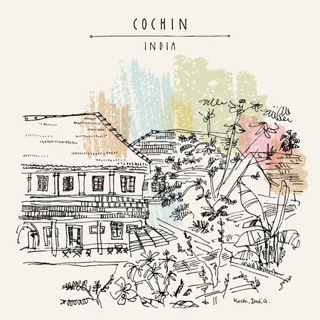 Cochin (Kochi), Kerala, Inde. Architecture ancienne. Bâtiments coloniaux patrimoniaux et plantes tropicales dans le jardin. Célèbre monument historique en été. Carte postale de voyage dessinée à la main de vecteur