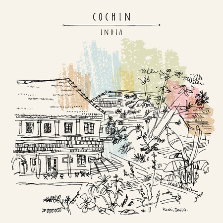 Cochin (Kochi), Kerala, India. Old architecture. Heritage colonial buildings and tropical plants in the garden. Famous historical landmark in summer. Vector hand drawn travel postcard
