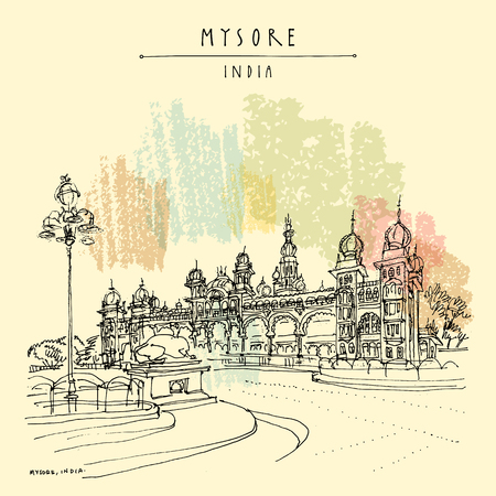 Mysore (Mysuru), Karnataka, India. Mysore palace. Travel sketch. Vintage hand drawn postcard template. Vector Ilustração