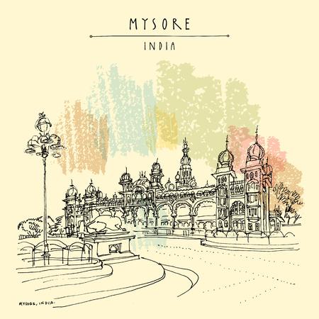 Mysore (Mysuru), Karnataka, India. Palazzo di Mysore. Schizzo di viaggio. Modello di cartolina disegnata a mano d'epoca. Vettore Vettoriali