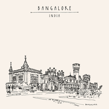Bangalore (Bengaluru), Karnataka, India. Beautiful Bangalore palace. Travel sketch. Vintage hand drawn postcard template. Vector illustration Vettoriali
