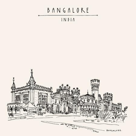 Bangalore (Bengaluru), Karnataka, India. Prachtig Bangalore-paleis. Reis schets. Vintage hand getrokken briefkaart sjabloon. vector illustratie