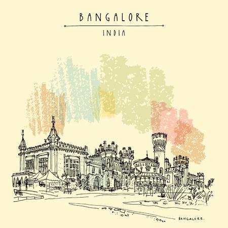 Bangalore (Bengaluru), Karnataka, India. Beautiful Bangalore palace. Travel sketch. Vintage hand drawn postcard template. Vector illustration Illustration