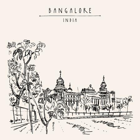 Bangalore (Bengaluru), Karnataka, India. Building in Neo-Dravidian style. Travel sketch. Vintage hand drawn postcard template. Vector illustration Çizim